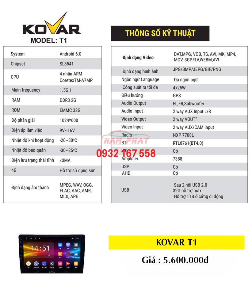 Bảng giá màn hình android Kovar T1