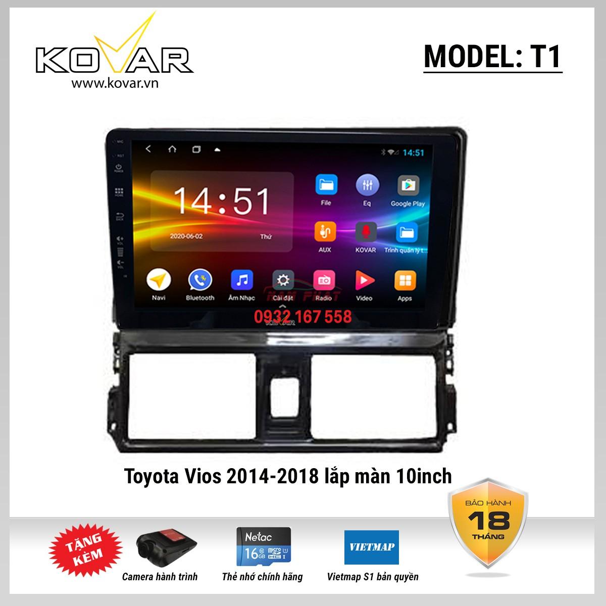 Màn hình DVD android Kovar T1 Toyota Vios