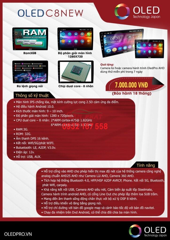 Bảng giá màn hình dvd oled c8 - Toyota Vios